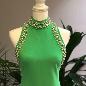 Bold Green Cut Out High Collar Beaded Dress